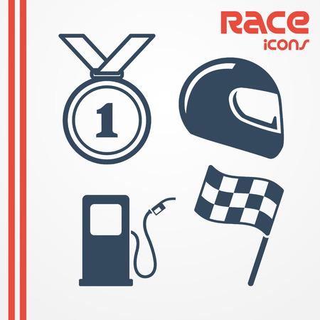 casco moto: Conjunto de cuatro iconos de carreras planas - medalla, casco, bandera, gasolinera