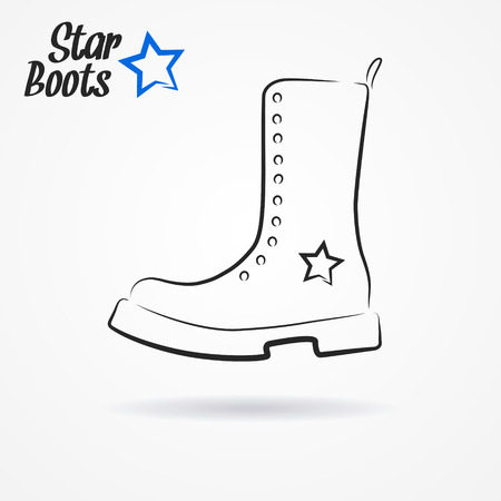 combat boots: Hand drawn sketchy icon with stylized military boots and star