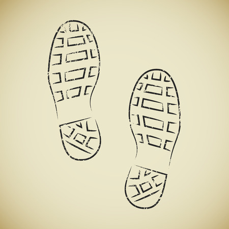 Two hand drawn grunge boots footprints on beige background Vector