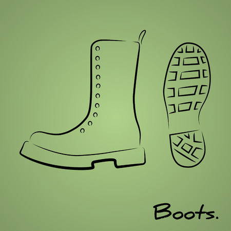 foot soldier: Hand drawn sketchy icon with stylized military boots Illustration