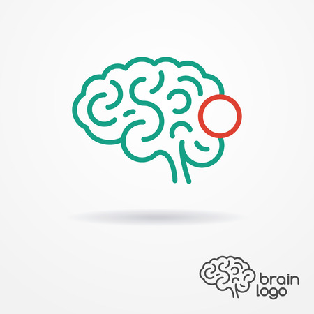 Abstract flat looking human brain logo in cyan and red colors
