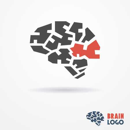 Abstract flat looking human brain logo in gray and red colors