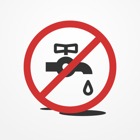 waste money: Stop water leak sign, water tap and drop icon Illustration