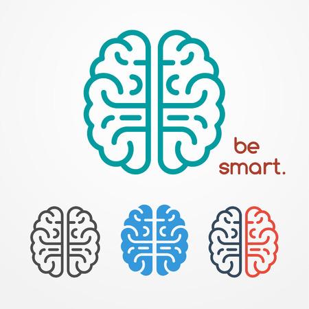 抽象的な人間の脳のロゴの異なる色で設定見ているフラット