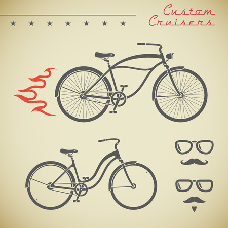 bicycle frame: Classic cruiser bicycle and collection of design elements, flame, stars, glasses and moustache