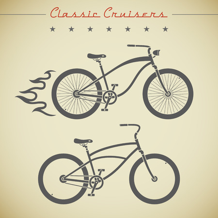 Classic cruiser flat looking bicycles decorated with flame, stars and text Vector