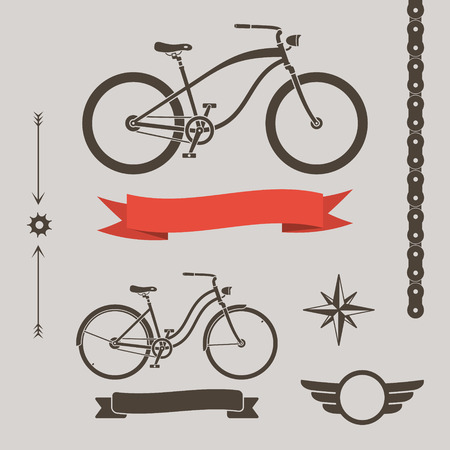 Classic cruiser bicycles and collection of design elements, chain, ribbon, arrows and star Vector