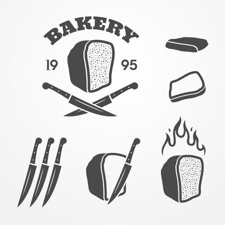 Raccolta di grafico icona panificio ed elementi di design, pane, coltello e fiamme