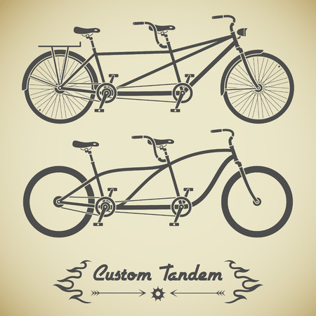 tandem bicycle: Collection of detailed classic tandem bicycles in flat style Illustration