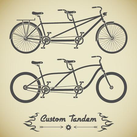 brandweer cartoon: Het verzamelen van gedetailleerde klassieke tandem fietsen in vlakke stijl