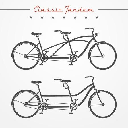 deportes caricatura: Conjunto de las bicicletas t�ndem detallados cl�sico en estilo plano