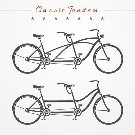 Set of detailed classic tandem bicycles in flat style Ilustração