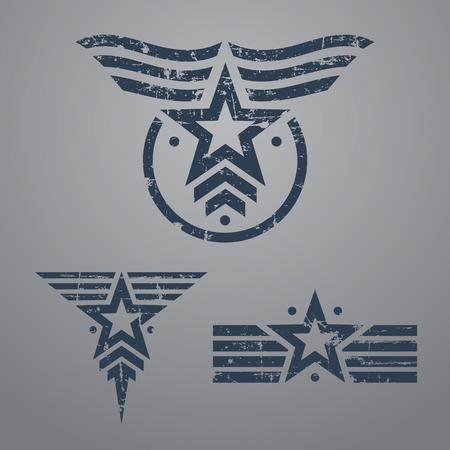 Abstract grunge star militare emblema impostato su sfondo grigio