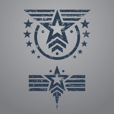 estrellas  de militares: Resumen grunge emblema de la estrella militar situado en el fondo gris