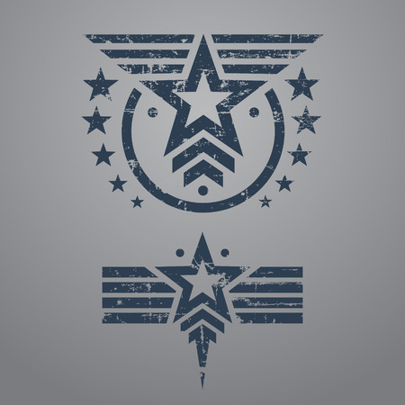 Abstract grunge military star emblem set on gray background