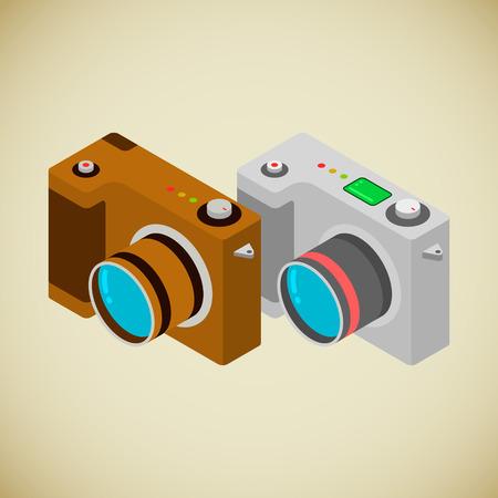 Due telecamere foto, moderni e retrò, in stile isometrico
