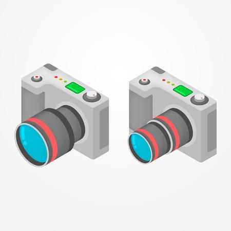 Due moderne fotocamere foto con obiettivo zoom in stile isometrico Vettoriali