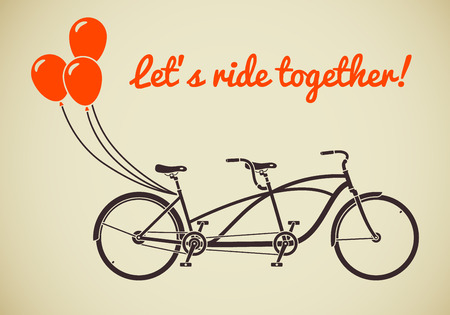 Classic romantic tandem bicycle with balloons in flat style