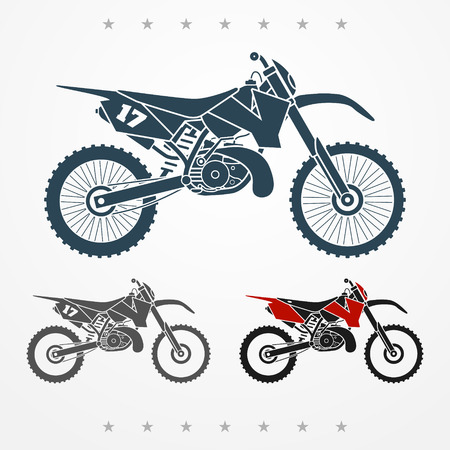 Set of three cross two-stroke flat looking motorcycles