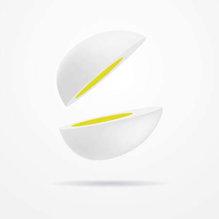 boiled: Realistic boiled egg cut in two equal pieces
