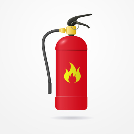 fire extinguisher label: Detailed realistic fire extinguisher with emergency flame label