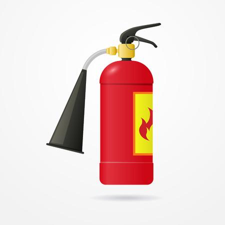 Dettagliata estintore realistico con etichetta fiamma emergenza