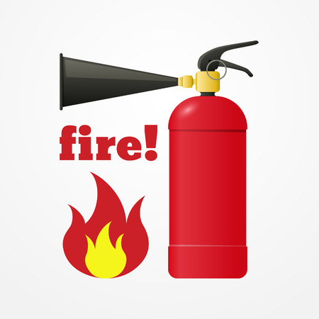 fire extinguisher symbol: Cartoon realistic fire extinguisher with emergency flame sign