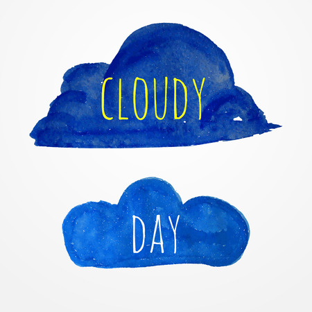 Two blue hand drawn watercolor clouds with text Vector