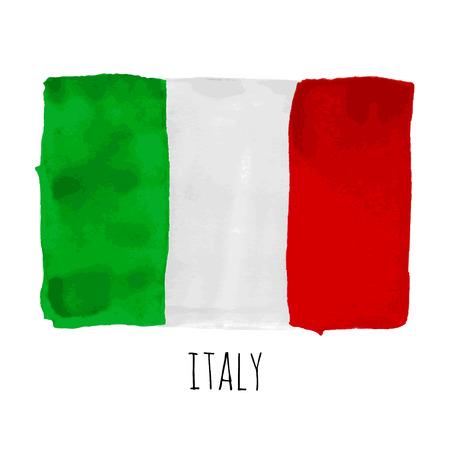 Luminoso acquerello disegnato a mano Bandiera Italia con testo di esempio
