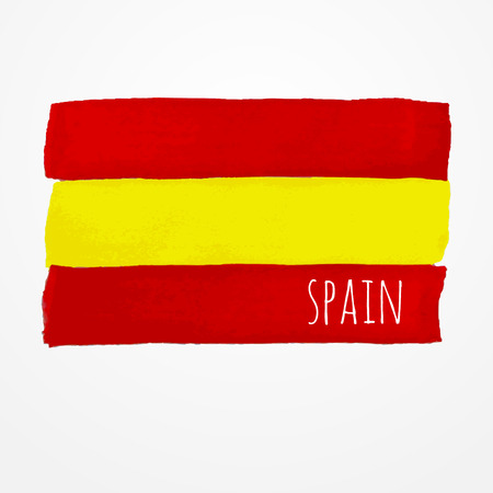 spanish flag: Bright hand drawn watercolor Spain flag with sample text