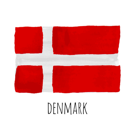 denmark flag: Bright hand drawn watercolor Denmark flag with sample text Illustration
