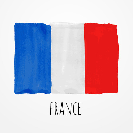 Bright hand drawn watercolor France flag with sample text Ilustração