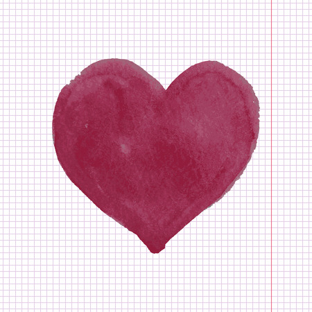 corazon: Red hand drawn watercolor heart on notebook background Illustration