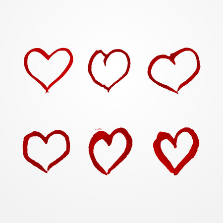 red hand: Collection of six red hand drawn watercolor hearts