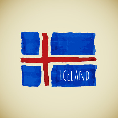 iceland flag: Bright hand drawn watercolor Iceland flag with sample text