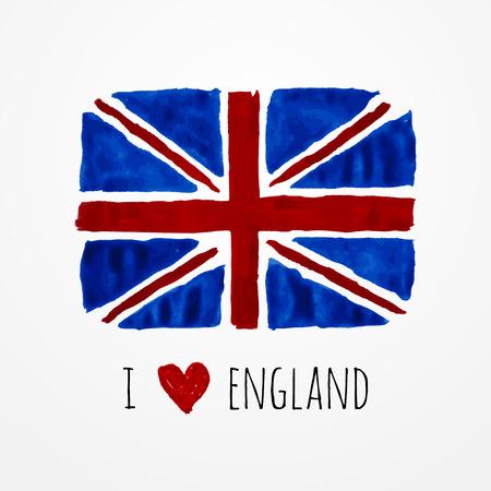 bandera uk: Brillante dibujado a mano acuarela bandera de Inglaterra con texto de ejemplo