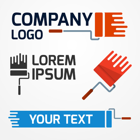 Set of flat company logotypes - paint roller with sample text Çizim