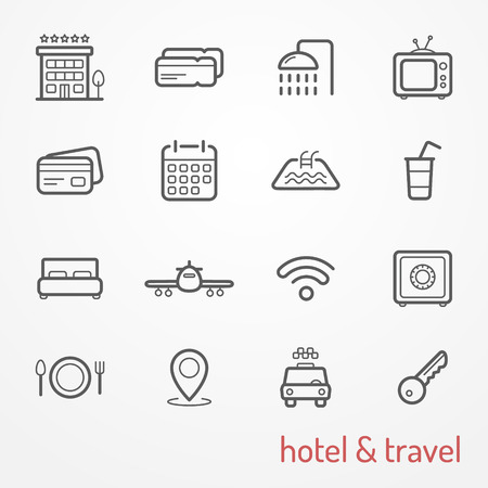 airplane ticket: Collection of travel and hotel thin line icons