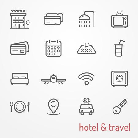 Het verzamelen van reis en hotel dunne lijn iconen