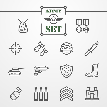 bullet icon: Collection of thin line icons - army and military theme