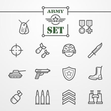 Het verzamelen van de dunne lijn iconen - leger en de militaire thema Vector Illustratie