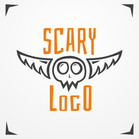 skeleton cartoon: Funny cartoon logo - simplistic grungy skull with wings and sample text