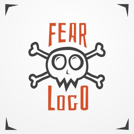 skull logo: Funny cartoon logo - simplistic grungy skull with bones and sample text