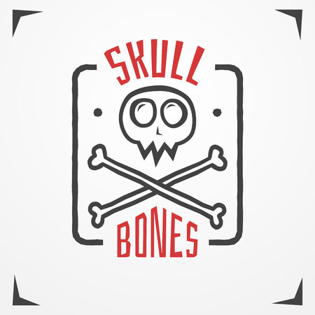 crossbone: Funny cartoon logo - simplistic grungy skull with bones and sample text