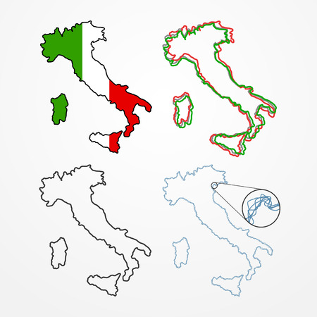 borders abstract: Collection of four Italy silhouettes - abstract line country borders in different styles Illustration