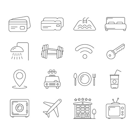 gym room: Collection of travel and hotel icons, thin line style, hotel typical symbols Illustration