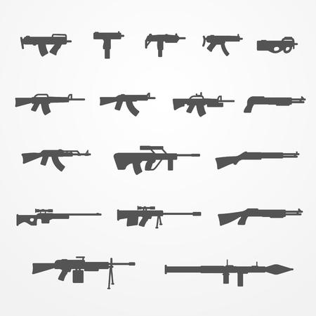 pistolas: Conjunto de armas de fuego y de armas blancas iconos, siluetas, pistola, ametralladora, escopeta y el rifle, pistola stock