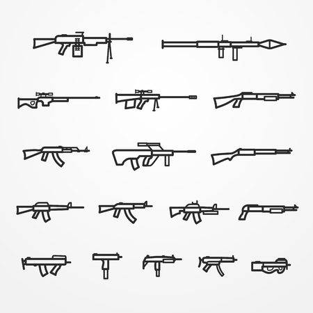firearm: Collection of firearm and weapon icons, line style, gun, machine gun, shotgun and rifle, firearm stock image