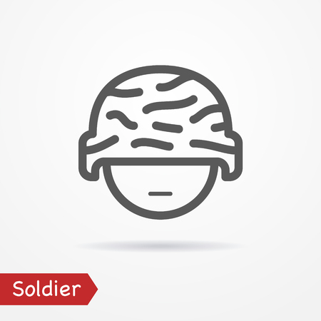 simplistic icon: Soldier face in line style. Typical simplistic soldier in camouflage helmet. Soldier head isolated icon with shadow. Soldier stock image.