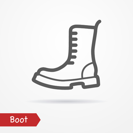 foot soldier: Military boot in line style. Typical simplistic army boot. Heavy boot isolated icon with shadow. Military boot stock image. Illustration